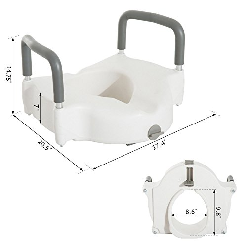 Medical Raised Elevated Toilet Seat Lift Riser Safety Rails with Arms by Caraya