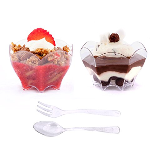 Petits Desserts Cups 72-piece set of 24 Mini Dessert Dishes 70 ml with Spoons and Forks, Catering Supplies
