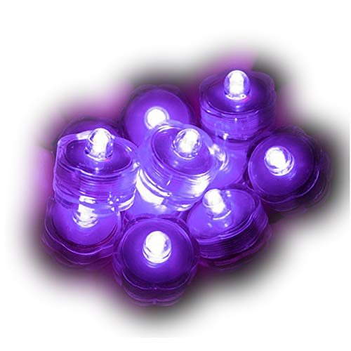 Sokaton Submersible Tea Light Battery Operated Waterproof LED Tealights Underwater Vase Light for Christmas Xmas Holloween Party Wedding Decoration (Purple-24)