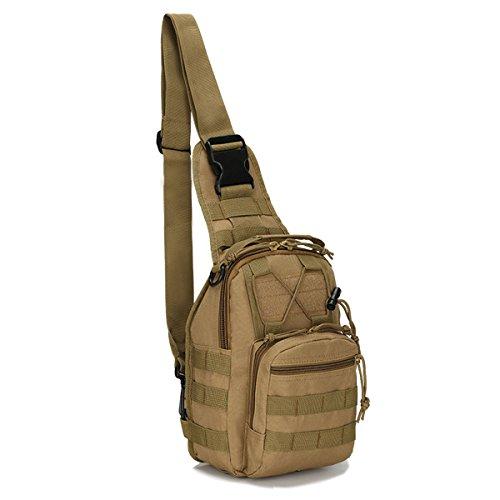 Dunnta Tactical Sling Bag, Military Sport Bag EDC Molle Pack Daypack for Camping, Hiking, Trekking, Rover Sling (Khaki)