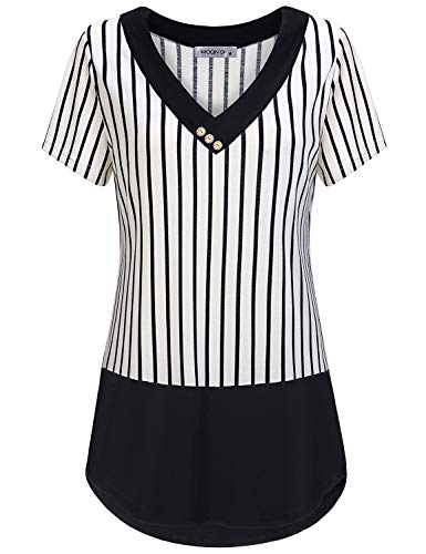 MOQIVGI Striped Shirt,Lady Black White Pinstripe Tops Trendy Casual Short Sleeve Crossover V Neck Tunic Blouse Button Embellished Contrast Trim Tshirt Prime Wardrobe Womens Clothing Medium