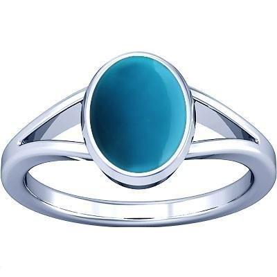 - Divya Shakti 12.25-12.50 Carats Turquoise Silver Ring ( FIROZA / FEROZA STONE RING ) 100 % ORIGINAL NATURAL GEMSTONE AAA QUALITYLITY
