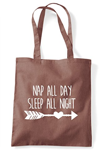 Tote All Statement Chestnut Sleep Night Nap Day Shopper Bag FwX7qd6x