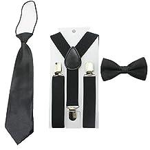 Toddler Baby Boys Clip On Suspenders Bow Tie Necktie Wedding Accessories (Black)