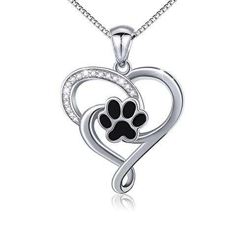 Dog Paw Sterling Silver Pendant - S925 Sterling Silver Puppy Dog Cat Pet Paw Print Love Heart Pendant Necklace 18
