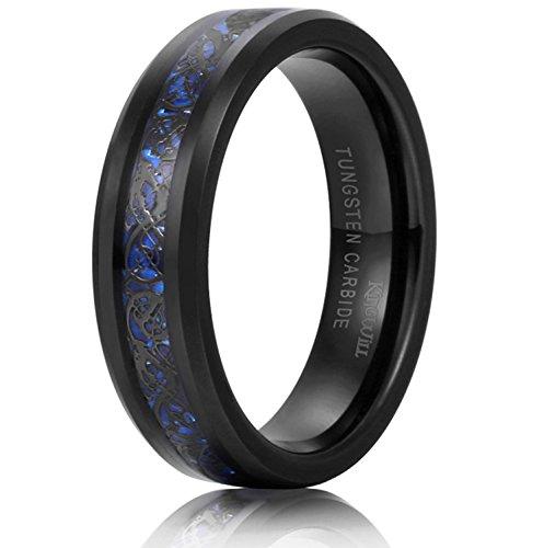 King Will DRAGON Unisex 6mm Black Celtic Dragon Blue Carbon Fiber Tungsten Carbide Ring Comfort - Blue Fibre Carbon