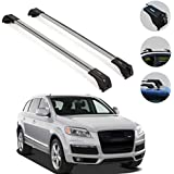 OMAC Silver Aluminum Roof Top Wing Bar Cross Bars Cargo Rack - Luggage, Ski, Kayak Carrier | 165 LBS / 75 KG Load Capacity -