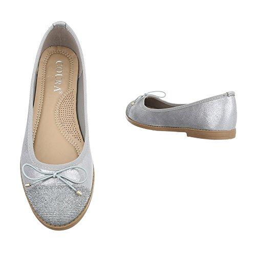 Ital-Design Ballerinas Damenschuhe Geschlossen Blockabsatz Blockabsatz Ballerinas Silber 9817