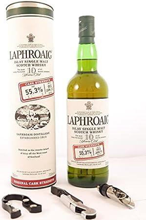 Laphroaig 10 Year Old Islay Single Malt Scotch Whisky 2011 55.3% Cask Strength 70cls (original Tube) en una caja original contres accesorios de vino, 1 x 700ml