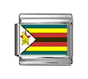 ZIMBABWE ZIMBABWEAN FLAG Photo Italian Charm 9mm - 1 x PC198 Single Bracelet Link