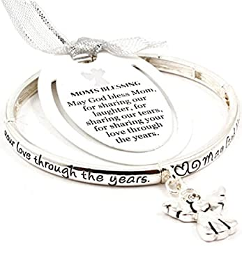 Mother's Day Gift! Accessory Accomplice Silvertone Engraved Mom's Blessing Angel Charm Stretch Bangle Bracelet
