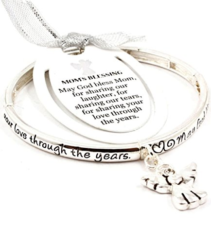 Accessory Accomplice Silvertone Engraved Mom's Blessing Angel Charm Stretch Bangle Bracelet
