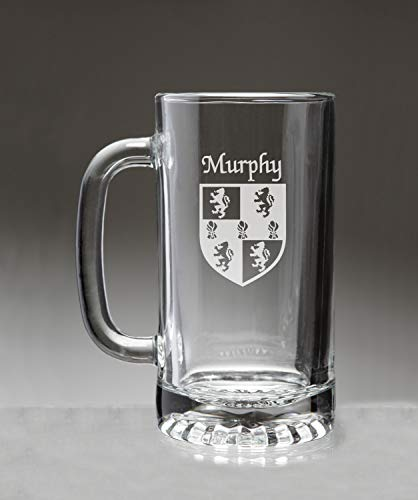(Murphy Irish Coat of Arms Glass Beer Mug (Sand Etched))