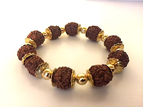 GORGEOUS RUDRAKSH RUDRAKSHA BRACELET - GOLD PLATED BEADS AND LINKS - FOR STESS FREE LIFE - ENERGIZED BRACELET - US SELLER -