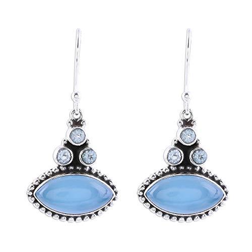 NOVICA Multi-Gem Chalcedony .925 Sterling Silver Dangle Earrings, Joyous Blue' (Topaz Earrings Blue Chalcedony)