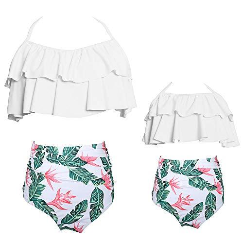 Women Ruffle Flounce High Waisted Bikini Halter Neck Swimsuit Girl Two Pieces Swimwear Family Beachwear Bathing Suit Outfits Sets (White, Girl 2-3 T)