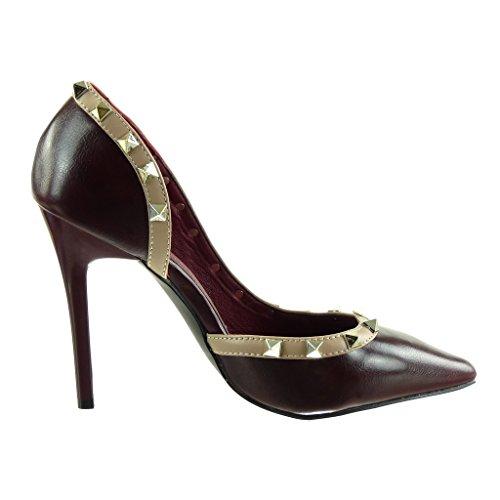 stiletto CM Bordeaux clouté aiguille carré Escarpin 5 Chaussure Talon ouverte Angkorly haut Mode 10 femme Decolleté ZwP6t0RUqx