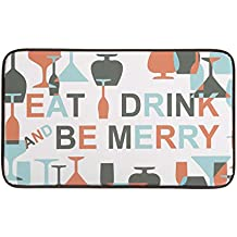 """Chef Gear 18"""" x 30"""" Anti-Fatigue Faux Leather 'Be Merry Wine' Kitchen Mat"""