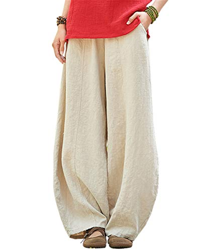 IXIMO Women's Cotton Linen Wide Leg Pants with Elastic Waist Baggy Long Bloomers Trousers with Pockets (Style2_Beige, S)