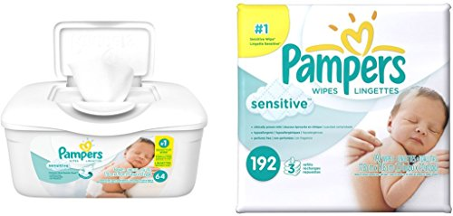Pampers Baby Wipes Tub, Sensitive - 64 Wipes/Tub (1Tub/3Refills/256 Count, Sensitive)