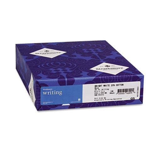 24 Lb White Wove Paper - Strathmore Writing Natural Paper - 8 1/2 x 11 in 24 lb Writing Wove 25% Cotton Watermarked 500 per Ream