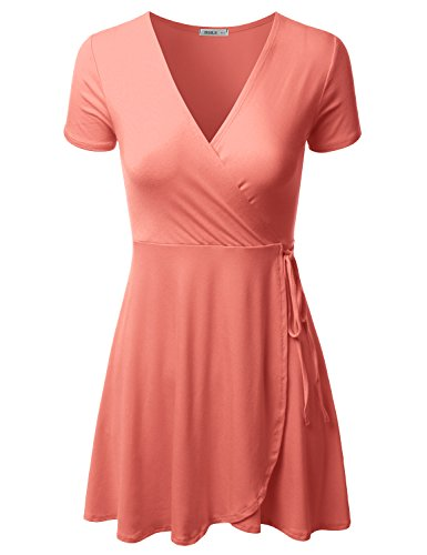 Doublju Short Sleeve Surplice Wrap A-Line Dress for Women with Plus Size Coral Medium ()