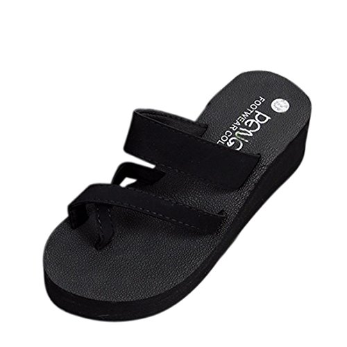 Aurorax Women's Girls Flip Slippers,Bohemia Sandals [Spring Summer Flat Sandals] Nice Sandals Clip Toe for Beach (Black, US:6.5)