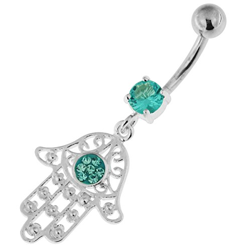 (Light Blue Multi Crystal Stone Mini Tribal Floral Fatima Hand 925 Sterling Silver Belly Button Piercing Ring Jewelry)