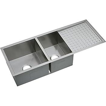 Elkay Crosstown EFU471810DB 60/40 Double Bowl Undermount Stainless Steel  Sink With Drainboard