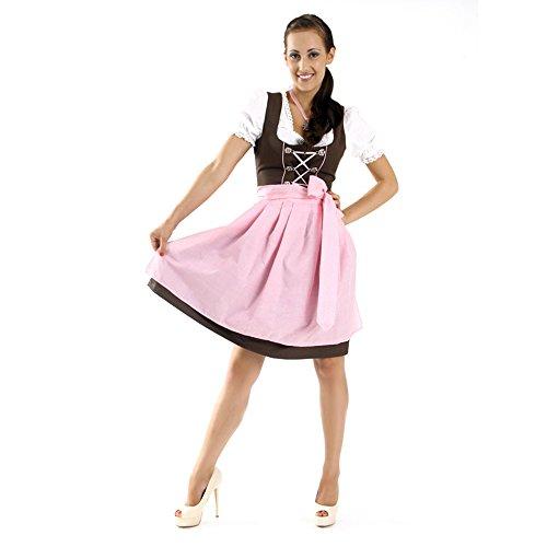 Almbock Mini Dirndl Rosi schwarz-rosa in Gr. 34 36 38 40 42 44 - Oktoberfest-Outfit 3-tlg. mit passender Dirndl-Schürze und Dirndl-Bluse mit Spitze