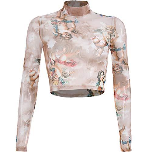 Women Turtleneck Long Sleeve Angel Print Short Navel Top Crop T-Shirt (Coffee, L)