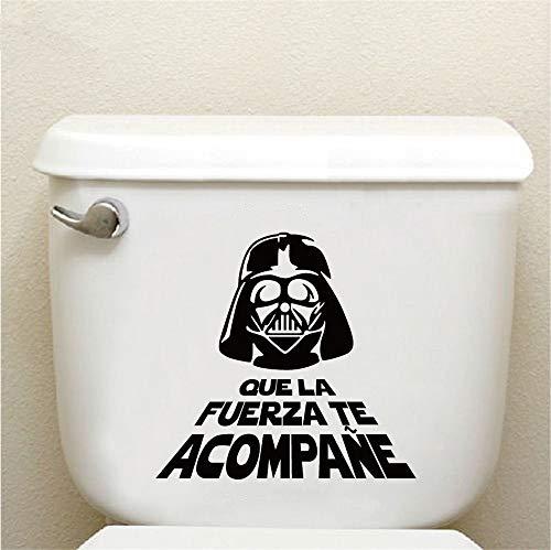 Cita en espanol Etiqueta de la pared de vinilo de Star Wars Cita Wc Pegatinas para el bano Que la fuerza te acompane Arte de la pared de dibujos animados Decal Home De