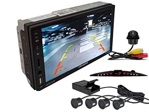 Multimidia Mp5 RS-505MP5 Com Câmera De Ré RS-122BR E Sensor De Estacionamento RS-204BR PRETO FOSCO