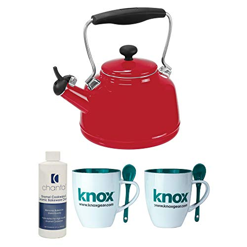 - Chantal 37-VINT RE Enamel on Steel Vintage Teakettle, 1.7 quart, Red Includes Ceramic Cookware Cleaner and 2 Mugs