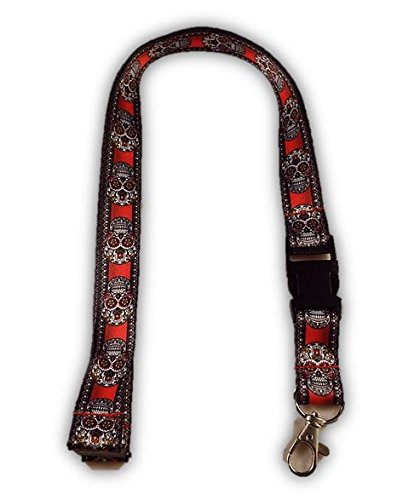 Novelty Sugar Skull Red and Black Design Neck Lanyard Id and Key Holder
