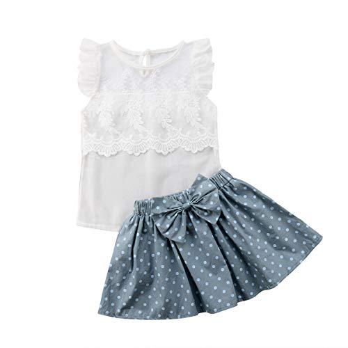 Toddler Kids Baby Girl Floral Halter Ruffled Outfits Clothes Tops+Shorts 2PCS Set (2-3 Years, Polka dot)
