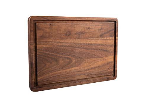 Pandapark Wooden Cutting Board,American Hardwood Chopping and Carving Countertop Block with Juice Drip Groove (13''x9'' Rectangula) Countertop Hardwood Cutting Board