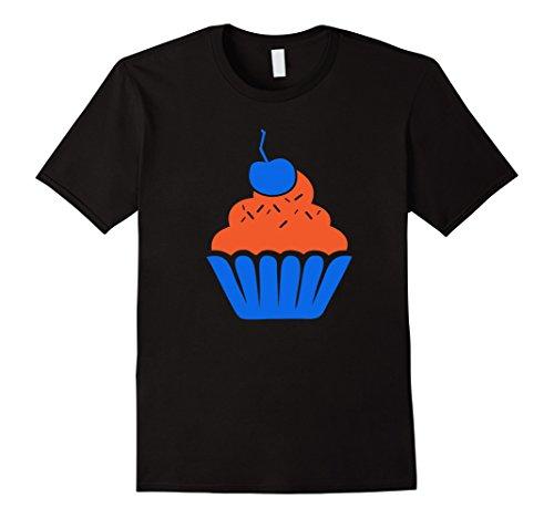 Men's  Cupcake Tshirt - Orange and Blue KD Shirt Large Black