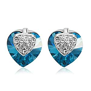 ZMC Women's Rhodium Plated Alloy Swarovski and Austrian Crystals Stud Earrings, Silver/Ocean Blue