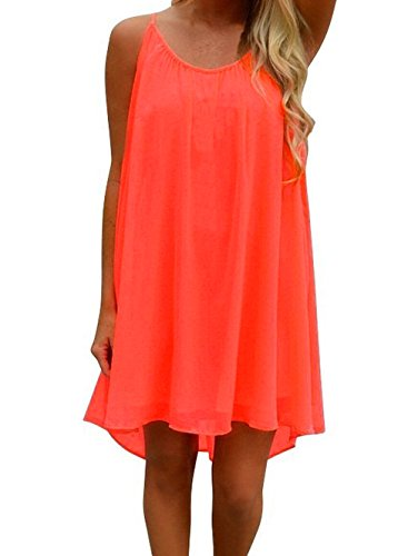 iToolai Women Summer Casual Sundresses Chiffon Beach Shift Dress(Bright Coral,M) (Bright Coral)