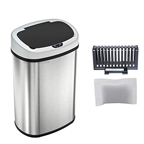 SensorCan 13 Gallon Touchless Sensor Trash Can with Odor Control System, Stainless Steel Oval Shape Automatic Garbage Bin