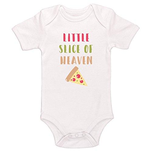 Kinacle Little Slice of Heaven Baby Bodysuit (3-6 Months, White) (Pizza Onesie)