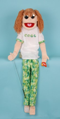 Brunette Haired Girl - Brunette Haired Girl Puppet with Pigtails - Wrap-Around People Puppets
