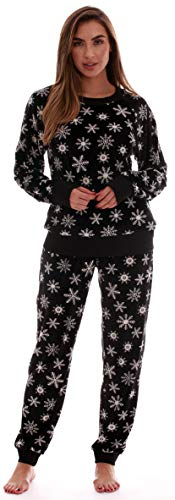 (#followme Printed Velour Pajama Top with Jogger Pant 6757-10329-BLK-S)