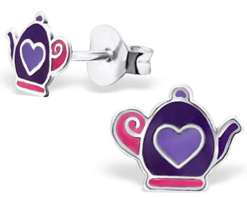 FaithOwl Teapot Purple Heart 925 Sterling Silver Stud Earrings