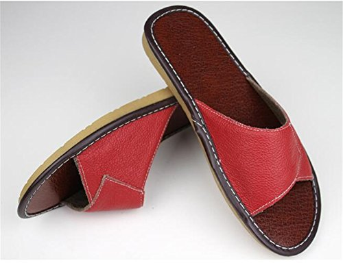 Women Slippers for Smelly Corium Men Autumn Floor Summer Leather Anti Cowhide TELLW Wooden Spring xUqOvPPgnw