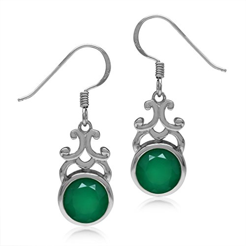 (3.52ct 8MM Natural Round Emerald Green Agate 925 Sterling Silver Filigree Swirl Dangle Hook Earrings)