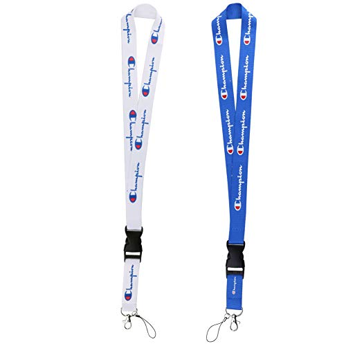 Lanyard with Quick Release Buckle, Sports Lanyard for Keys Keychains Phones ID Badge Holder Bags Accessories -2 Pack White Blue