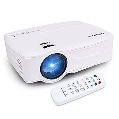 Blusmart Home Mini LED-9 Video Projector, Multimedia Home Theater Projector Support 1080P HDMI USB SD Card VGA AV for Home Cinema TV Laptop Game iPhone Andriod Smartphone with Free HDMI Cable