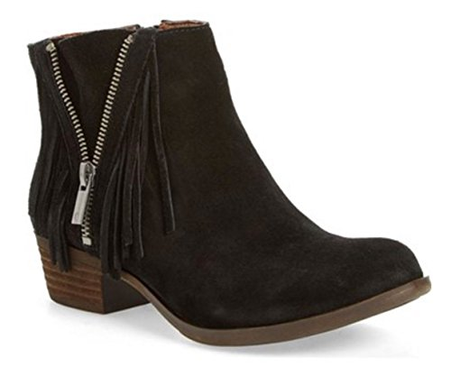 Boho-Chic Vacation & Fall Looks - Standard & Plus Size Styless - Lucky Brand Women's Beeliner Black Fringe Booties